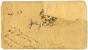 Primary view of object titled '[Envelope from Henry Moore addressed to Charles Moore, July 6, 1865]'.