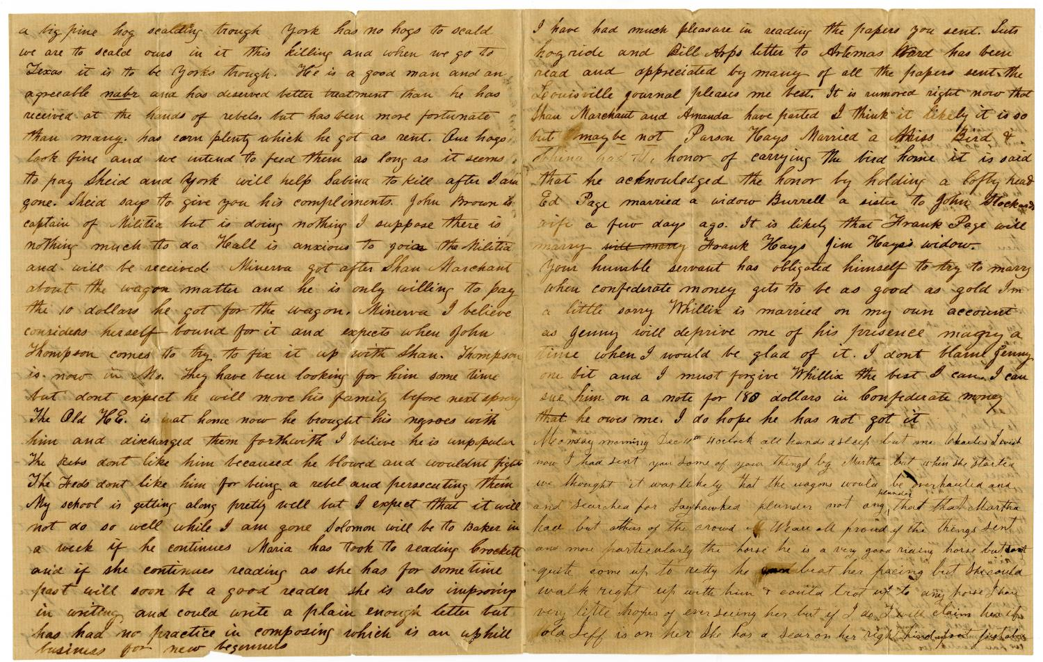 [Letter from Julia Rucker to Charles Moore, December 9, 1865]                                                                                                      [Sequence #]: 2 of 4