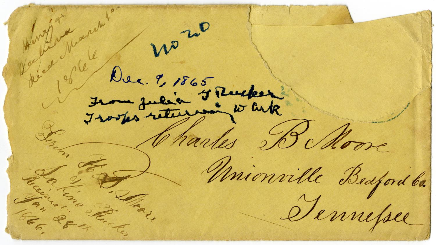 [Letter from Julia Rucker to Charles Moore, December 9, 1865]                                                                                                      [Sequence #]: 3 of 4