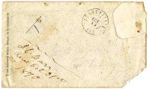 Primary view of object titled '[Envelope for C. B. Moore, 1870]'.