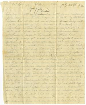 Primary view of [Letter from H. S. Moore to Charles, July 28, 1872]