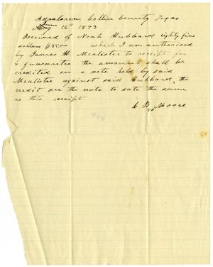 Primary view of [Receipt from Charles B. Moore, June 16, 1873]
