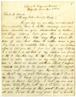 Primary view of [Letter from Travis Winham, December 9, 1874]