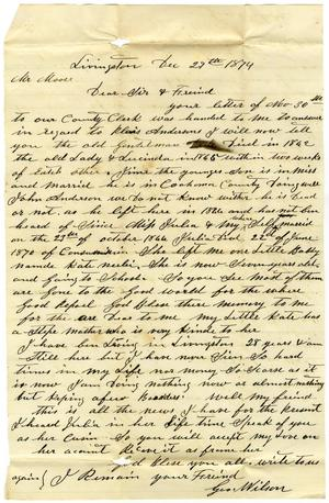 Primary view of [Letter from George Wilson]