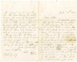 Primary view of [Letter from Dinkie McGee to her Sister, July 25, 1875]