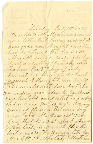 Primary view of [Letter from Matilda Dodd to Mary Ann Dodd Moore, July 18, 1876]
