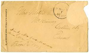 Primary view of object titled '[Envelope from Dinkie McGee, Mailed May 1, 1876]'.