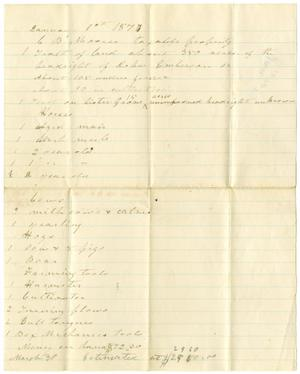 Primary view of object titled '[C. B. Moore taxable property, January 1, 1877]'.