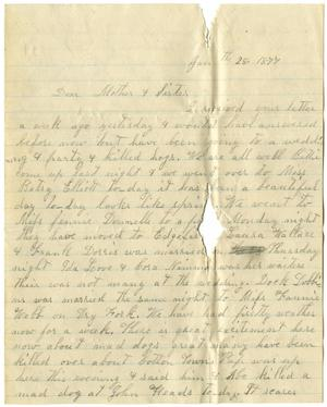 Primary view of [Letter from Dinkie McGee to Mary Ann Dodd Moore and Matilda Brantley Dodd, January 28, 1877]