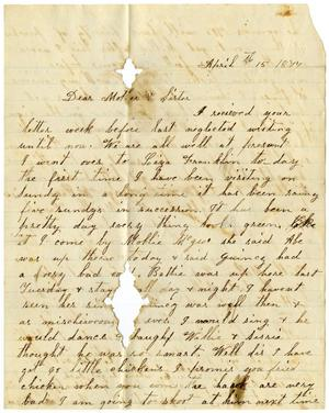 Primary view of [Letter from Dinkie McGee to her Sister and Mother, April 15, 1877]