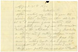 Primary view of [Letter from William Dodd to Moore, April 30, 1877]