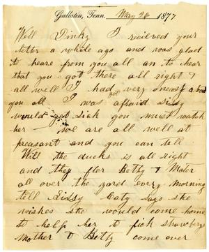 Primary view of [Letter from W. H. McGee to Dinky, May 26, 1877]