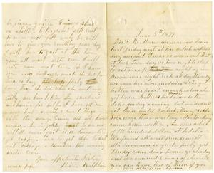 Primary view of [Letter from Bettie Franklin to her Sister and Mr. Moore, June 5, 1877]