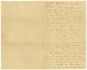 Primary view of [Letter from H. S, Moore, August 4, 1877]