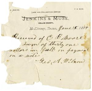 Primary view of [Receipt of C. B. Moore from G. A. Wilson, June 15, 1878]