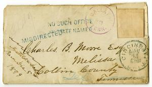 Primary view of object titled '[Envelope to Charles B. Moore from Matilda Dodd, November 1879]'.