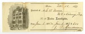 Primary view of object titled '[Receipt of C. B. Moore, November 13, 1879]'.