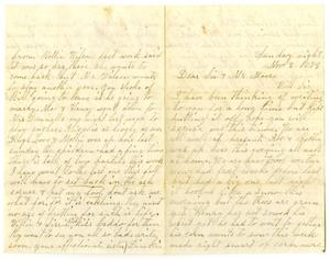 Primary view of [Letter from Dinkie McGee to her Sister and Mr. Moore, November 2, 1879]