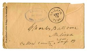 Primary view of object titled '[Envelope for Charles B. Moore, September 1879]'.