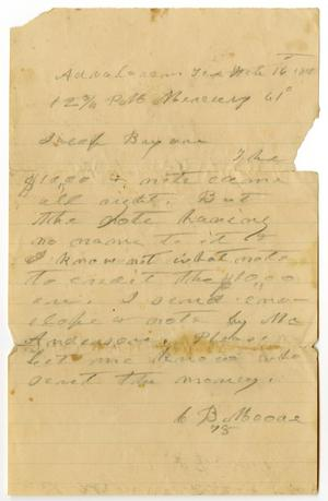Primary view of object titled '[Letter from C. B. Moore to Jacob Bayon]'.