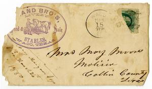 Primary view of object titled '[Envelope addressed to Mrs. Mary Moore, March 15, 1880]'.
