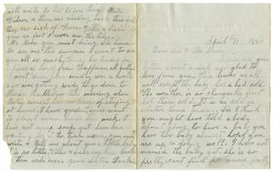 Primary view of object titled '[Letter from Dinkie McGee to Mary Ann Dodd Moore April 11, 1880]'.