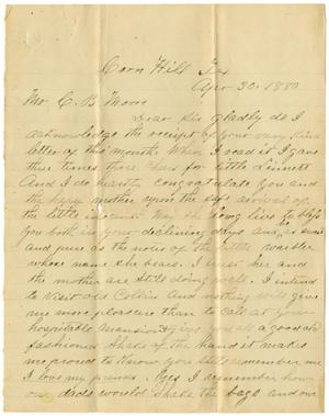 Primary view of [Letter from John Mcarthy to Charles B. Moore, April 30, 1880]