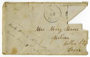 Primary view of [Envelope from Dinkie, Alice and Willie McGee to Mary and Charles Moore, December 12, 1881]