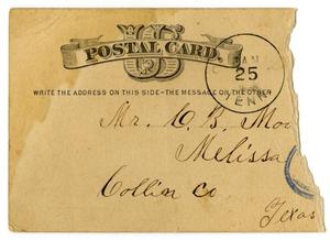 Primary view of object titled '[Postcard for C. B. Moore, January 20, 1882]'.