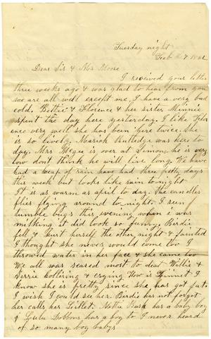 Primary view of object titled '[Letter from Dinkie McGee to Sis and Mr. Moore, February 7, 1882]'.