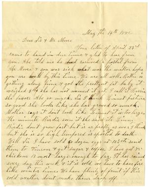 Primary view of [Letter from Dinkie McGee to Sis and Mr. Moore, May 14, 1882]
