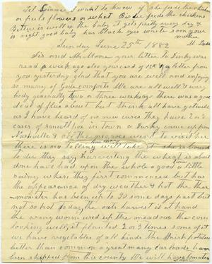 Primary view of [Letter from Matilda Dodd to Sis and Mr. Moore, June 25, 1882]