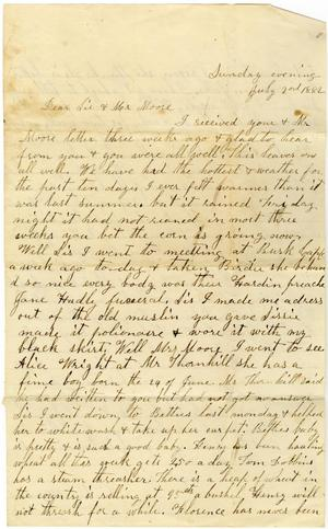 Primary view of [Letter from Dinkie McGee to Sis and Mr. Moore, July 2 ,1882]