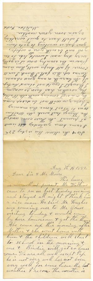 Primary view of [Letter from Matilda Dodd to Mary Ann Dodd and Charles B. Moore, August 19, 1882]