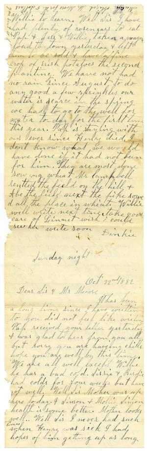 Primary view of [Letter from Dinkie McGee to Mary Ann Dodd Moore, October 22, 1882]