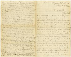 Primary view of [Letter from Laura Jernigan to Charles and Mary Moore, March 8, 1883]
