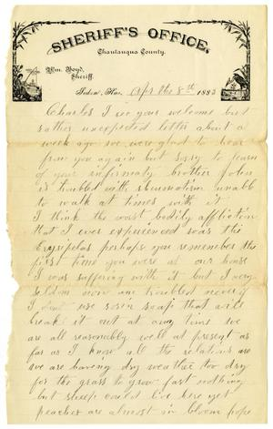 Primary view of object titled '[Letter from J. Ann to Charles Moore, April 8, 1883]'.