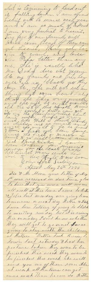 Primary view of [Letter from Matilda Dodd, Florence Dodd, and Bettie Franklin to Mary Moore, May 26, 1883]