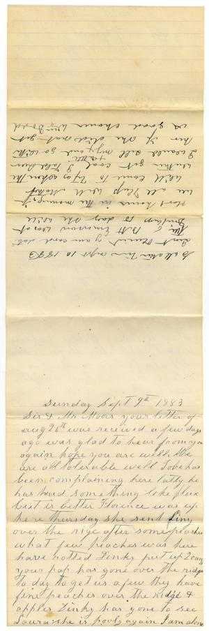 Primary view of [Letter from William and Matilda Dodd to Mary and Charles B. Moore, September 9-10, 1883]