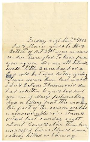 Primary view of [Letter from Matilda Dodd to Mary Ann and Charles B. Moore, November 2, 1883]