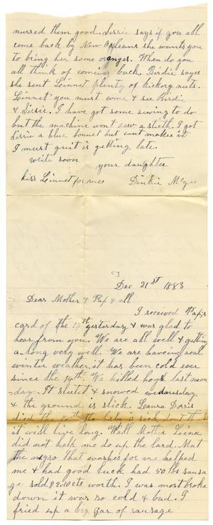 Primary view of [Letter from Dinkie McGee to her Mother and Family, December 21, 1883]