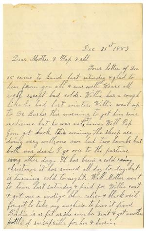 Primary view of object titled '[Letter from Dinkie McGee to her Mother and Family, December 31, 1883]'.
