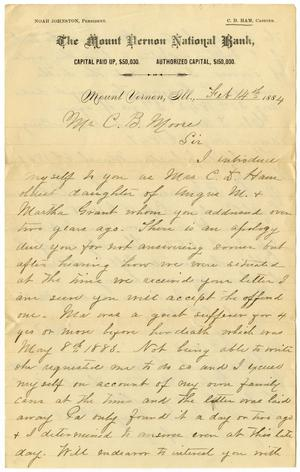 Primary view of object titled '[Letter from Mrs C. D. Ham to C. B. Moore, February 14, 1884]'.