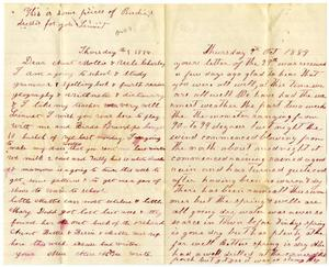 Primary view of object titled '[Letter from Matilda Dodd and Alice McGee to Charles and Mollie Moore, October 9, 1884]'.
