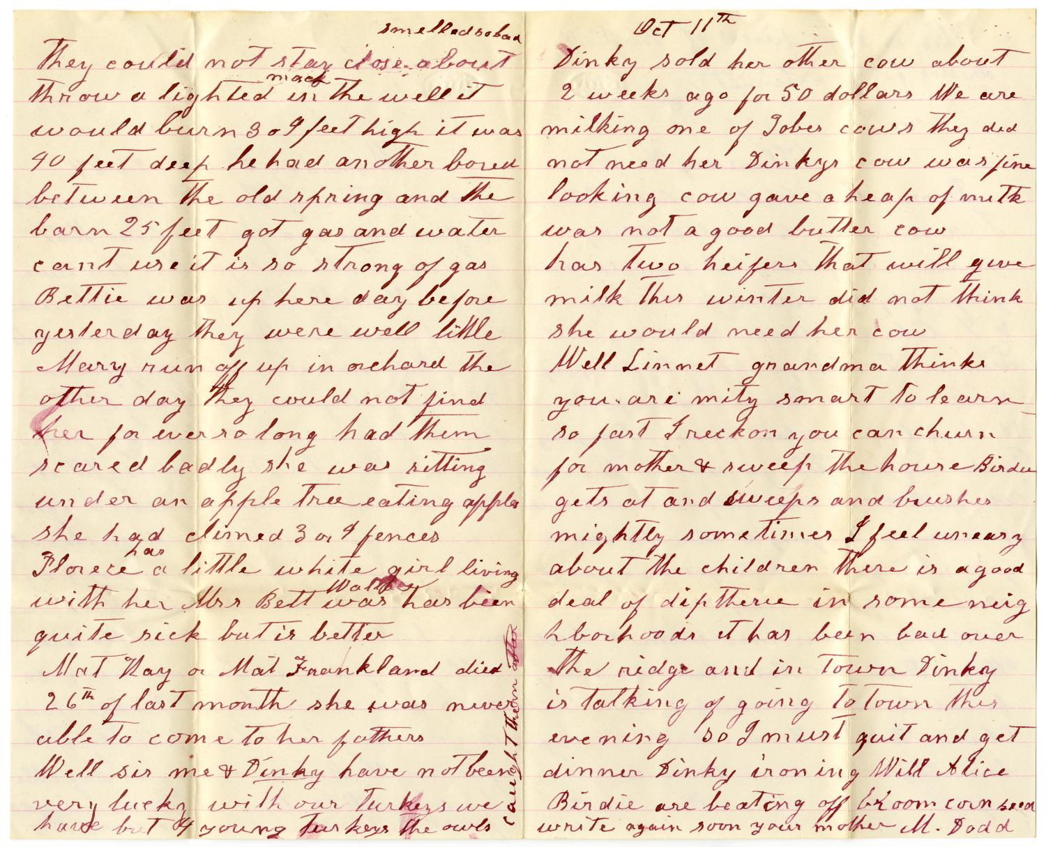 [Letter from Matilda Dodd and Alice McGee to Charles and Mollie Moore, October 9, 1884]                                                                                                      [Sequence #]: 2 of 4