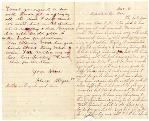 Primary view of [Letter from Dinkie and Alice McGee to Mr. Moore and Sis, December 21, 1884]