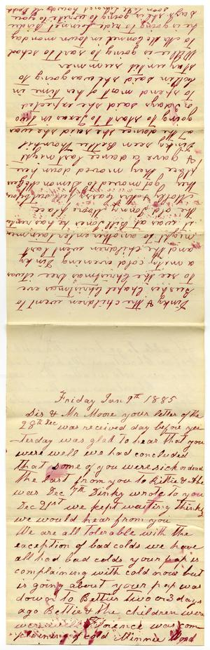 Primary view of [Letter from Matilda Dodd to Mary and Charles B. Moore, January 9, 1885]