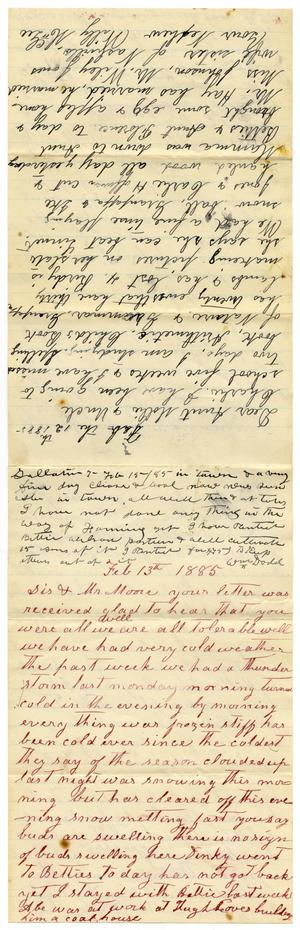 Primary view of [Letter from Matilda Dodd, February 13, 1885]