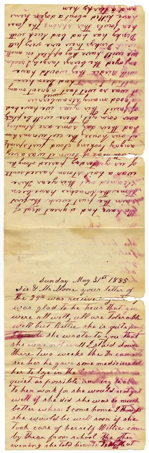 Primary view of [Letter from Matilda Dodd to Mary and Charles B. Moore, May 31, 1885]