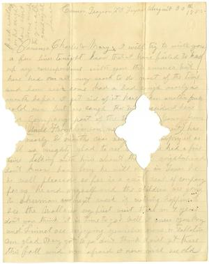 Primary view of object titled '[Letter from Laura Jernigan to Mary Ann and Charles B. Moore, August 30, 1885]'.